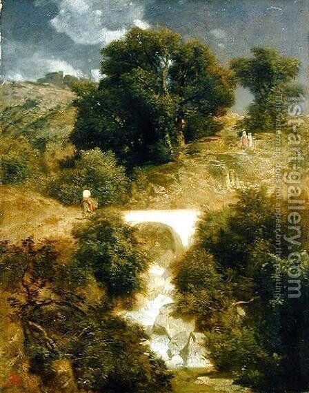 Roman Landscape with a Bridge, 1863 by Arnold Böcklin - Reproduction Oil Painting