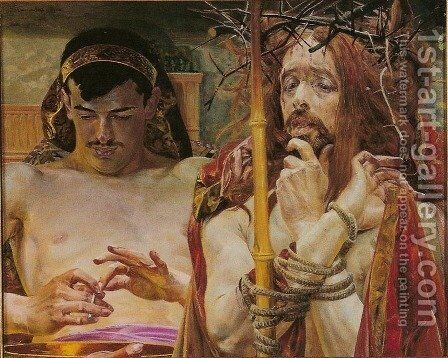 Christ with Pilate, 1910 by Jacek Malczewski - Reproduction Oil Painting