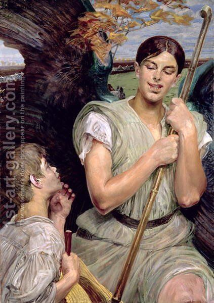 Angel and Shepherd Boy, 1911 by Jacek Malczewski - Reproduction Oil Painting
