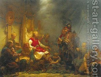 King Aella's messenger before Ragnar Lodbrok's sons 1857 by Johan August Malmstrom - Reproduction Oil Painting