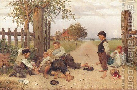 Grindslanten 1885 by Johan August Malmstrom - Reproduction Oil Painting