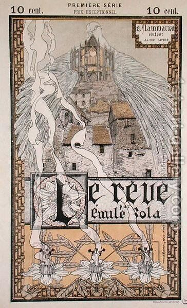 Front cover of 'Le Reve' by Emile Zola (1840-1902) 1892 by Carlos Schwabe - Reproduction Oil Painting
