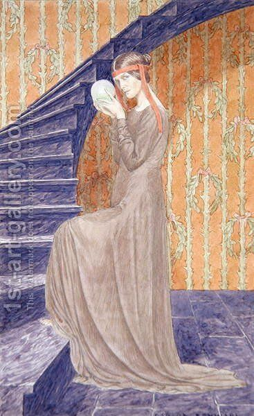 Young woman in Aesthetic style dress holding a sphere, 1894 by Carlos Schwabe - Reproduction Oil Painting