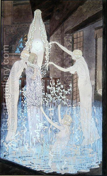 Illustration from 'Le Reve' by Emile Zola (1840-1902) c.1888 by Carlos Schwabe - Reproduction Oil Painting