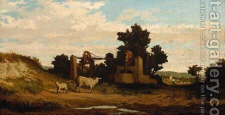 Landscape with Sheep and Old Well, c.1857 by Elihu Vedder - Reproduction Oil Painting