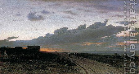 Evening view in a village. Oryol gubernia, 1874 by Clodt von Jurgensburg Mikhail Konstantinovitch - Reproduction Oil Painting