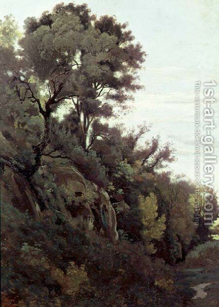 Marino - Trees and Rocks by Jean-Baptiste-Camille Corot - Reproduction Oil Painting