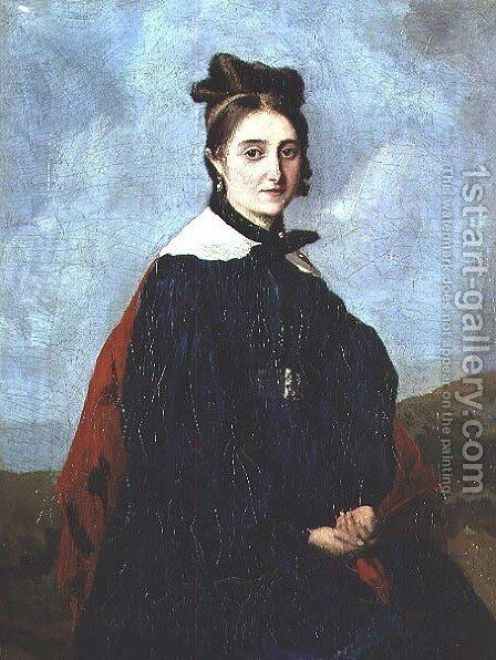 Alexina Ledoux, c.1840 by Jean-Baptiste-Camille Corot - Reproduction Oil Painting