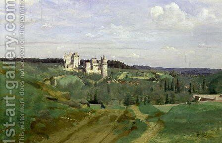 View of the Chateau de Pierrefonds, c.1840-45 by Jean-Baptiste-Camille Corot - Reproduction Oil Painting