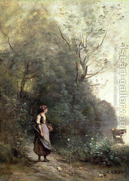 A Peasant Woman Grazing a Cow at the Edge of a Forest by Jean-Baptiste-Camille Corot - Reproduction Oil Painting