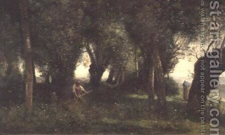 Man Scything by a Willow Plot, c.1855-60 by Jean-Baptiste-Camille Corot - Reproduction Oil Painting