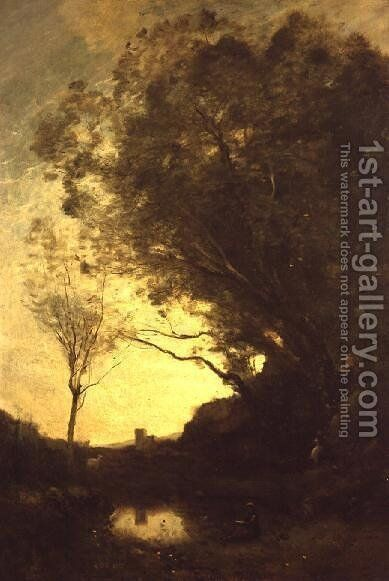 The Evening by Jean-Baptiste-Camille Corot - Reproduction Oil Painting