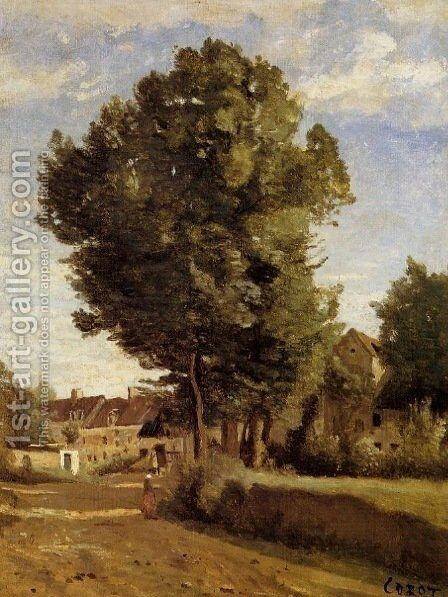 Outskirts of a village near Beauvais, c.1850 by Jean-Baptiste-Camille Corot - Reproduction Oil Painting