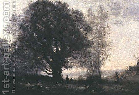 The Green-oaks in the Valley (Les Chenes-verts Dans La Vallee) by Jean-Baptiste-Camille Corot - Reproduction Oil Painting