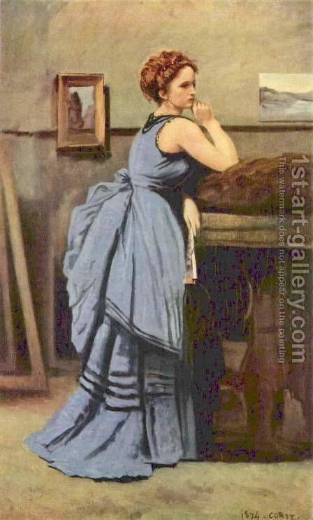 The Woman in Blue, 1874 by Jean-Baptiste-Camille Corot - Reproduction Oil Painting
