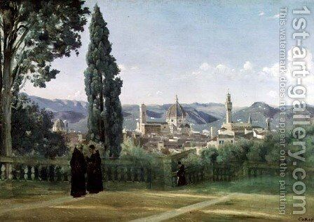 View of Florence from the Boboli Gardens, c.1834-36 by Jean-Baptiste-Camille Corot - Reproduction Oil Painting