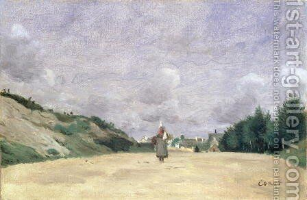 A Road in Normandy, c.1860-65 by Jean-Baptiste-Camille Corot - Reproduction Oil Painting