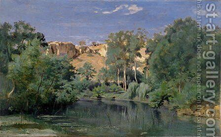 Wooded Landscape with a Pond, c.1830's by Jean-Baptiste-Camille Corot - Reproduction Oil Painting