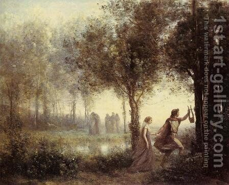 Orpheus Leading Eurydice from the Underworld, 1861 by Jean-Baptiste-Camille Corot - Reproduction Oil Painting