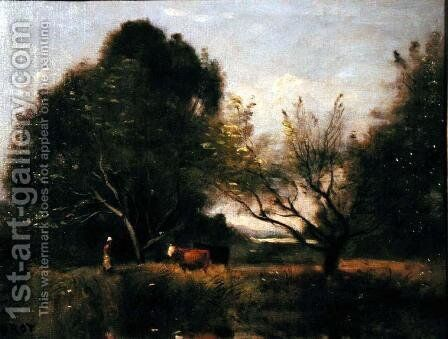 Landscape with Cattle by Jean-Baptiste-Camille Corot - Reproduction Oil Painting