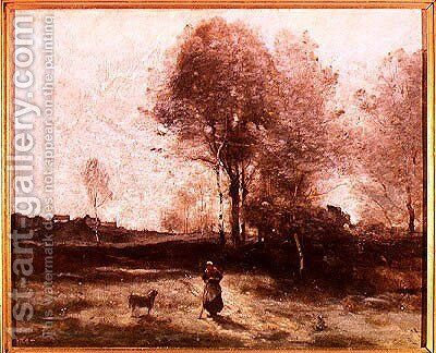 Landscape or, Morning in the Field by Jean-Baptiste-Camille Corot - Reproduction Oil Painting