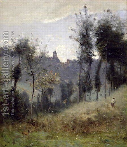Canteleu near Rouen by Jean-Baptiste-Camille Corot - Reproduction Oil Painting
