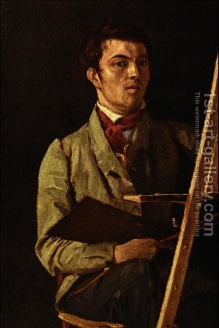 Self Portrait, Sitting next to an Easel, 1825 by Jean-Baptiste-Camille Corot - Reproduction Oil Painting
