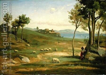 Italian Landscape, 1838 by Jean-Baptiste-Camille Corot - Reproduction Oil Painting