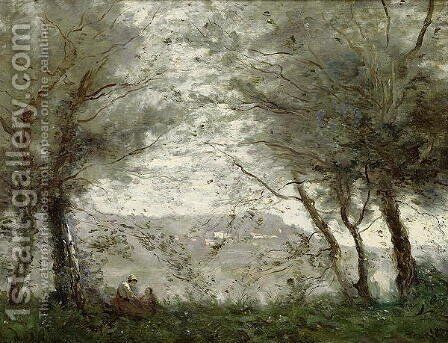 The Pond at Ville-d'Avray through the Trees, 1871 by Jean-Baptiste-Camille Corot - Reproduction Oil Painting