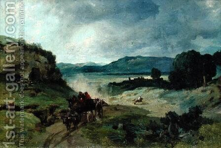 Roman Landscape, 1827 by Jean-Baptiste-Camille Corot - Reproduction Oil Painting