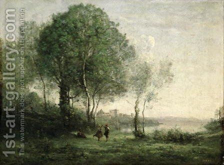Castel Gandolfo, Dancing Tyrolean Shepherds, 1855-60 by Jean-Baptiste-Camille Corot - Reproduction Oil Painting