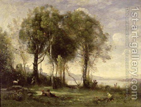The Goatherds of Castel Gandolfo, 1866 by Jean-Baptiste-Camille Corot - Reproduction Oil Painting