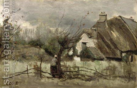 Thatched cottage in Picardie by Jean-Baptiste-Camille Corot - Reproduction Oil Painting