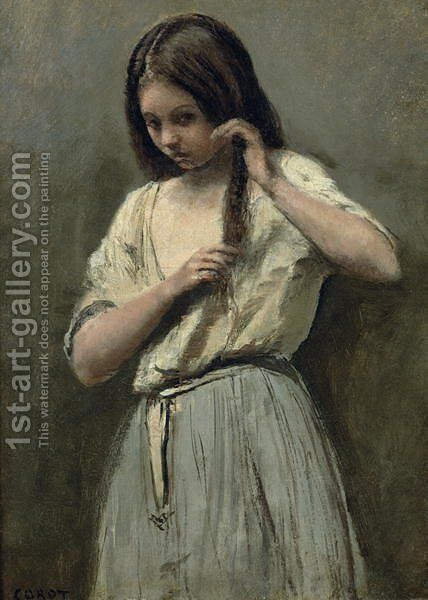 Young Girl at her Toilet by Jean-Baptiste-Camille Corot - Reproduction Oil Painting