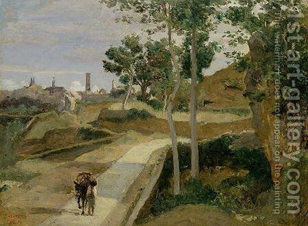 Road from Volterra by Jean-Baptiste-Camille Corot - Reproduction Oil Painting