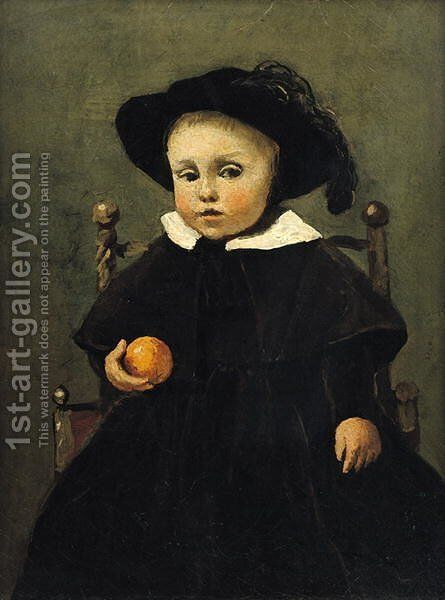 The Painter Adolphe Desbrochers (1841-1902) as a Child, Holding an Orange, 1845 by Jean-Baptiste-Camille Corot - Reproduction Oil Painting