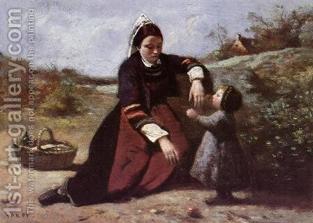 Breton Woman and her Little Girl, 1855-65 by Jean-Baptiste-Camille Corot - Reproduction Oil Painting