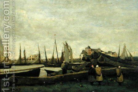 Treport - A Quay, c.1855-65 by Jean-Baptiste-Camille Corot - Reproduction Oil Painting