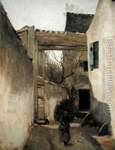 Ecouen, Corner of the Village, c.1870 by Jean-Baptiste-Camille Corot - Reproduction Oil Painting