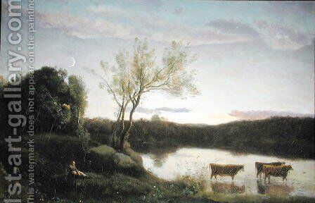 A Pond with three Cows and a Crescent Moon, c.1850 by Jean-Baptiste-Camille Corot - Reproduction Oil Painting