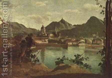 The Town and Lake Como, 1834 by Jean-Baptiste-Camille Corot - Reproduction Oil Painting