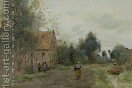 Sin near Douai, Village Street in the Morning, Grey Weather, 1872 by Jean-Baptiste-Camille Corot - Reproduction Oil Painting