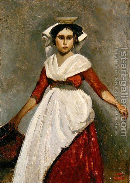 An Italian Girl, c.1872 by Jean-Baptiste-Camille Corot - Reproduction Oil Painting