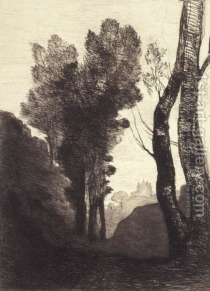 Environs de Rome, 1866 by Jean-Baptiste-Camille Corot - Reproduction Oil Painting
