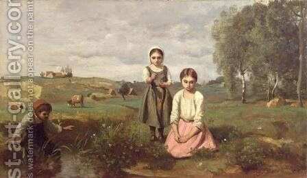 Children beside a brook in the countryside, Lormes by Jean-Baptiste-Camille Corot - Reproduction Oil Painting