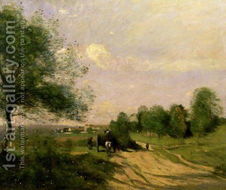 The Wagon, Souvenir of Saintry, 1874 by Jean-Baptiste-Camille Corot - Reproduction Oil Painting