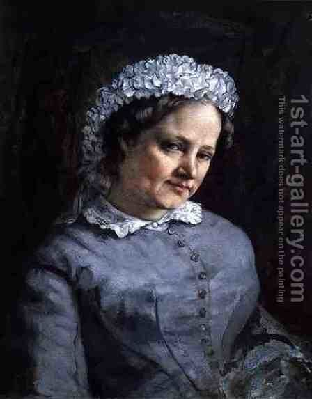 Portrait of Madame Prudhon by Gustave Courbet - Reproduction Oil Painting