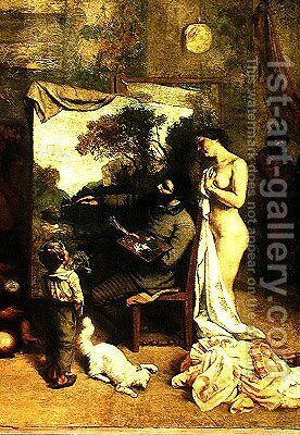 The Artist's Studio, a Real Allegory, detail of the painter and his model, 1854-55 by Gustave Courbet - Reproduction Oil Painting