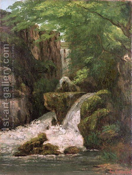 Waterfall in the Ornans Rocks by Gustave Courbet - Reproduction Oil Painting