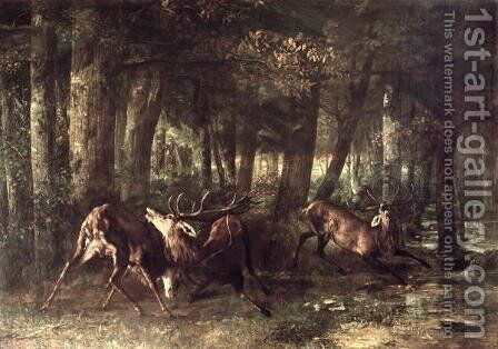 Spring, Stags Fighting, 1861 by Gustave Courbet - Reproduction Oil Painting